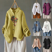 Women Summer Linen Loose Plus Size V-Neck Long Sleeve T-Shirt Baggy Blouse Tops