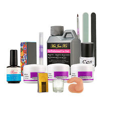 Pro Nail Art Kit 120ml Acrylic Liquid Powder Buffer File Brush Dryer Tools Set