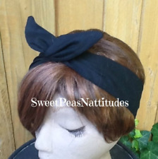 Wire Headband Black Wired Dolly Bow Rockabilly Scarf Bunny Ears