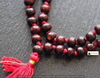 Rare Red Sandalwood Mala 108 + 1 Bead Hindu Japa Meditation Yoga Necklace Rosary