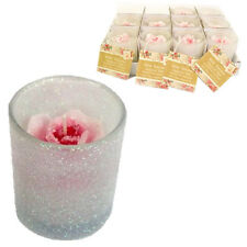 6CM ROSE CANDLE IN GLASS GLITTER POT SCENTED GIFT TEA LIGHT WAX HOME FRAGRANCE