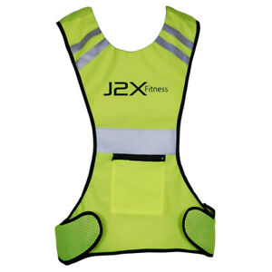 J2X Fitness Pro Hi Viz Reflective Running Cycling Vest Top