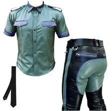 Men's Original Best Quality Leather Suit Green & Black With Blue Contrast