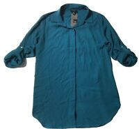 Mossimo Women's Long Sleeve Button Down Teal Blue Top Size XS Extra Small