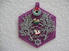 Purple Christmas Magnet Silver Leaves Wreath Rocking Horses Plastic Canvas