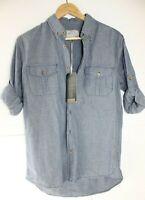 Blue Inc Mens M Denim roll sleeve shirt