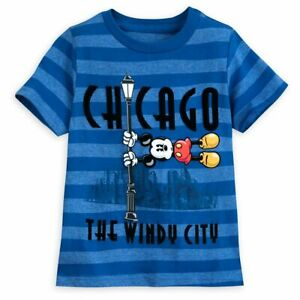 Disney Store Authentic Mickey Mouse Chicago Boys Blue T Shirt Tee Size 2/3 4