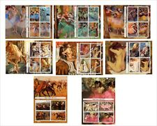 2011 EDGAR DEGAS 8 SOUVENIR SHEETS MNH UNPERFORATED ART PAINTINGS