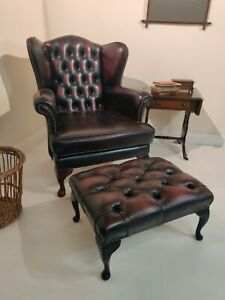 Oxblood Red Leather Chesterfield Wingback Armchair Footstool delivery available