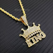 """Hip Hop Iced Lab Diamond CROWNED KING Pendant & 4mm 24"""" Rope Chain Necklace"""