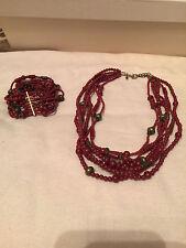 Premier Designs Red Rust 6-Strand Beaded Necklace & 9-Strand Bracelet Set Gold