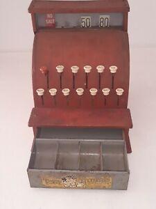 ***** 1950'S Vintage TOM THUMB Red Tin Metal Toy Cash Register Western Stamp Co.
