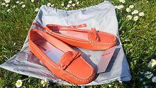 PRADA corail CUIR verni ballerine mocassin mocassins chaussure SZ 36.5 Uk 3.5 Fit Big