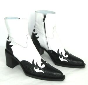 FREE LANCE Boots Cowboy Leather Reptile Black And Veal Calfskin White 37 Mint