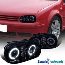 For 99-06 VW Golf GTI Smoke Halo Projector Smoked Headlights Glossy Black