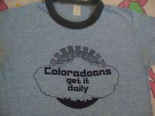 Vintage Coloadoans Get It Daily Colorado Tourist Heather Blue Sex joke T Shirt S