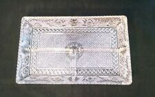 New listing Antique Pressed Glass Vanity Dresser Gray with Beautiful Pattern