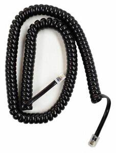 Extended Length Gloss Black Handset Cords (HCBK0125) 5 Pack - Brand New