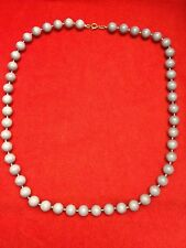 "VINTAGE SINGLE STRAND GRAY PLASTIC BEAD NECKLACE~23""LONG~VERY GOOD CONDITION"
