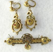 VICTORIAN ANTIQUE GOLD FILLED BOHEMIAN GARNET EARRINGS & PIN SET