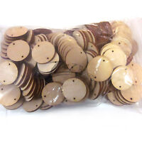 "DISCOUNT LOT SALE Wooden Circle 100 1""x1/8"" Craft Disc 2-hole Flat Hard wood tag"