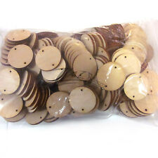 "(100) 1-1/4""x1/8"" Wooden Circles DISCOUNTED Disc 2mm 2 hole Flat Hard wood 1.25"""