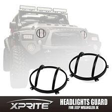 One Pair Black Steel Light Guard Protector For Headlight 07-17 Jeep Wrangler JK