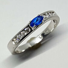 14K solid white gold light weight Sapphire & white Topaz stone size 2.2 gram