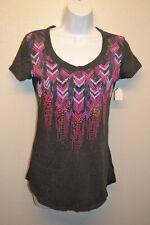 Womens Juniors Rock & Roll Cowgirl Gray T-Shirt MEDIUM Short Sleeve Scoop Neck