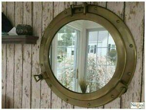 """20"""" Antique Brassfinish Nautical Maritime Ship Boat Window Wall Mirror Porthole"""