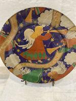 "Vintage Angel  Christmas Theme Decoupage Plate ~ Handmade  ~ Peace on Earth 10"""