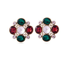 VINTAGE INSPIRED LARGE 18K GOLD PLATED RUBY RED & EMERALD GREEN STUD EARRINGS