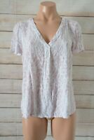 Just Jeans Tunic Blouse Shirt Size 10 Pink White Short Sleeve Snake Print