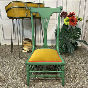 Vintage Nursing Chair Accent Chair Painted Green Mustard Colour Upholstery Wood