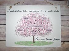 HANDMADE Grandparents Personalised Family Tree Gift Plaque Sign Christmas