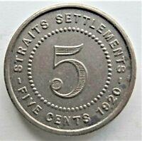 1920 STRAITS SETTLEMENTS George V, 5 Cents, grading EXTRA FINE.