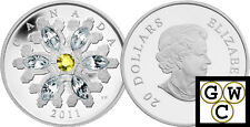 2011 'Topaz Crystal Snowflake' Proof $20 Silver Coin .9999 Fine (12874) (NT)