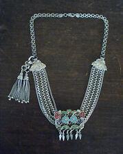 ANTIQUE Victorian SILVER/ENAMEL Albertina Pocket Watch CHAIN Tassel Fob NECKLACE