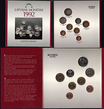 Rare SET LATVIAN COINAGE 1992 8 pcs collectible LETTONIA serie ufficiale Fdc
