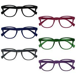 Opulize Pop Reading Glasses Retro Round Smooth Matt Mens Womens Spring Hinges R2