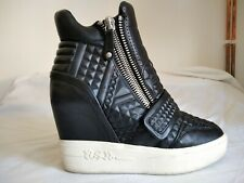 Ash Azimut Black High Top Wedge Sneakers Black with White Sole EU 40