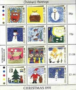 """GUERNSEY SCOTT HINGED # 464 """"CHILDRE'S PAINTINGS, CHRISTMAS 1991"""""""