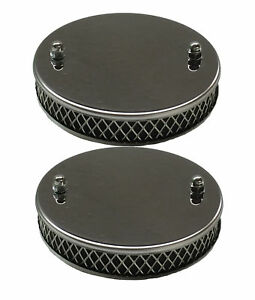 "New Pair of Chrome Pancake Sports Air Filters for 1 1/2"" SU MGA MGB 1955-1974"