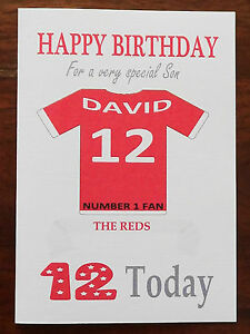 """LIVERPOOL FAN Unofficial PERSONALISED Football Birthday Card (""""THE REDS"""")"""
