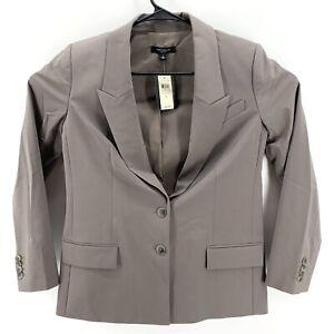 Ann Taylor Womens Blazer Size 6 Gray Two Button NWT Career Jacket Retail $228