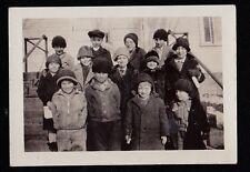 Old Vintage Antique Photograph Cute Little Children In Winter Coats & Hats