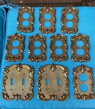Lot 10 Vintage Brass Electric Wall Double Switch Plates Outlet Covers Ornate