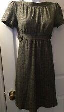 ELLA MOSS Anthropologie Herringbone Knit Dress Black Gray Career Short Slv Sz S