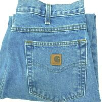 CARHARTT Blue Jeans Relaxed Fit Stonewash Tapered Leg B17 STW Work Men's 34x30