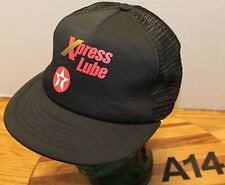 VINTAGE TEXACO XPRESS LUBE TRUCKERS HAT BLACK SNAPBACK MESH USA MADE VGC A14